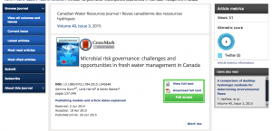 Canadian Water Resources Journal, 2015