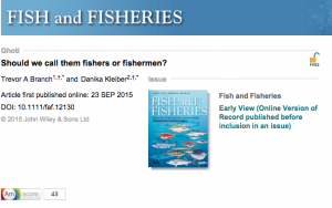 Fish and Fisheries, 2015
