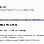 New Publication: Harris et al: Negotiated Resilience