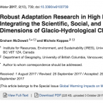 New Publication: McDowell & Koppes: Robust adaptation research in high mountains