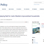 NEW PUBLICATION: TORIO: LEVELING THE PLAYING FIELD FOR METRO MANILA'S IMPOVERISHED HOUSEHOLDS