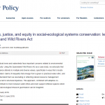 NEW PUBLICATION: SHAH AND RODINA: WATER ETHICS, JUSTICE, AND EQUITY IN SOCIAL-ECOLOGICAL SYSTEMS CONSERVATION: LESSONS FROM THE QUEENSLAND WILD RIVERS ACT